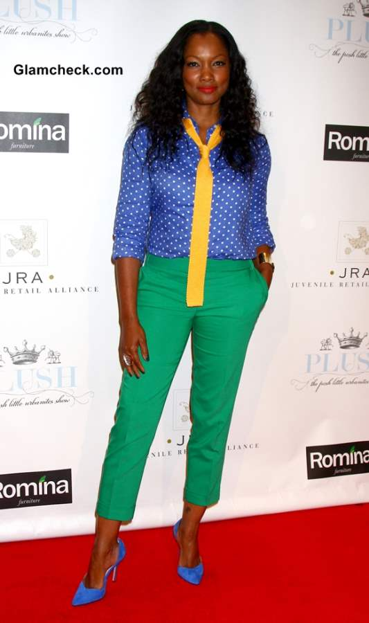 Garcelle Beauvais color blocked outfit green blue