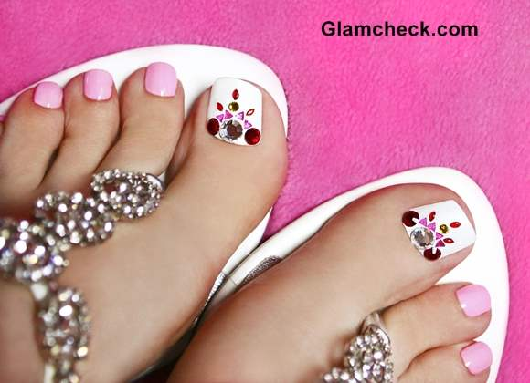 How To Do a Crystal Nail Art Pedicure at Home