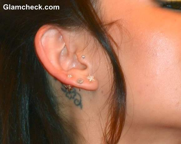 Janel Parrish Behind the Ear Tattoo