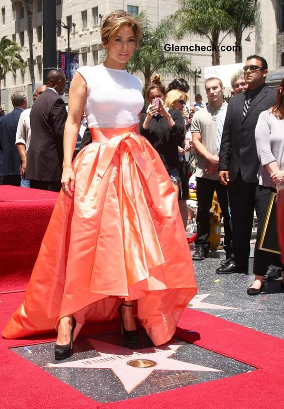 Jennifer Lopez in Dior at the Hollywood Walk of Fame