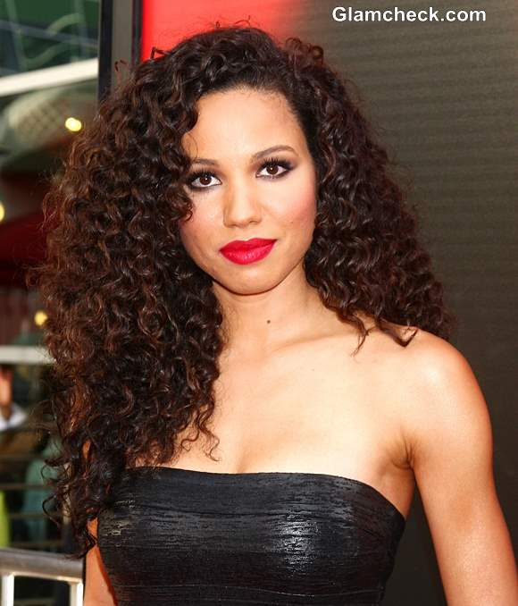 Jurnee Smollett-Bell Curly Hair Red Lips at True Blood Premiere