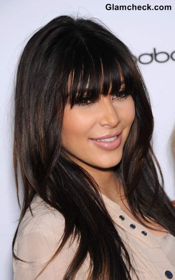 Kim Kardashian Blunt Bangs Hairstyle 2013