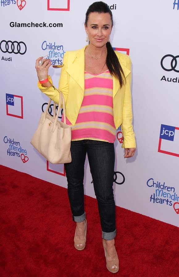 Kyle Richards Brightens Up Red Carpet in Colorful Ensemble