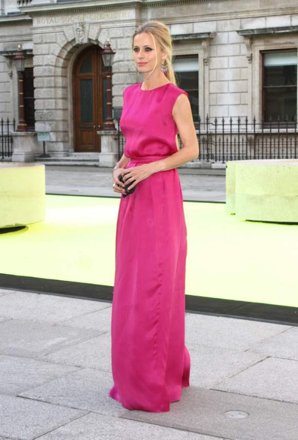 Laura Bailey in Fuchsia Gown at Art Exhibition 2013