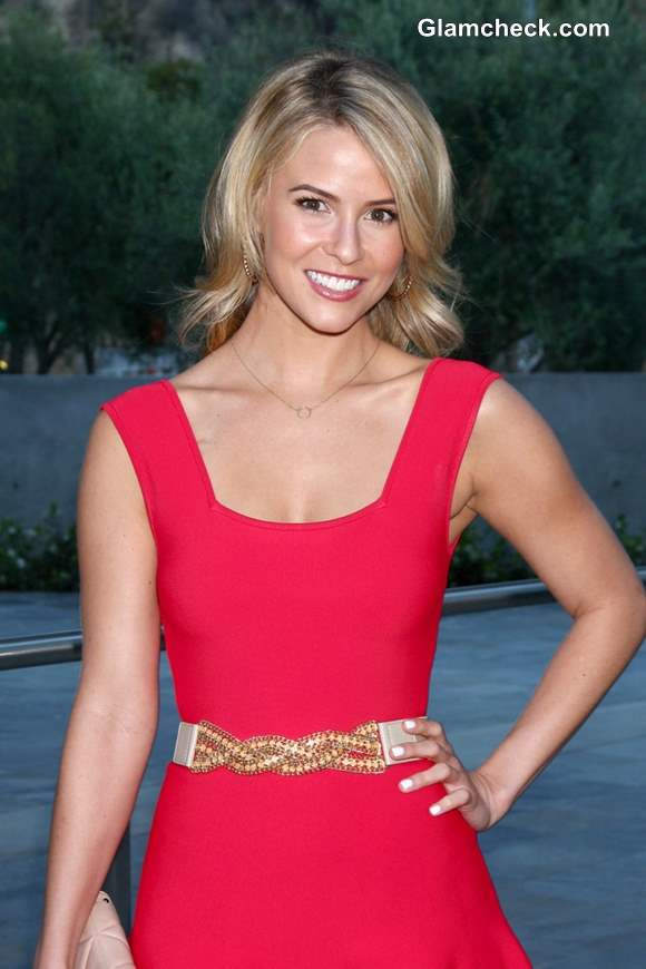 Linsey Godfrey in Coral Dress at Gala Event