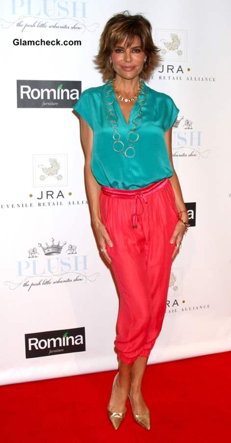 Lisa Rinna Color Blocked Outfit Coral Pants Satin Turquoise Blouse