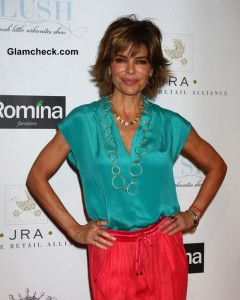 Lisa Rinna Color Blocked Outfit Coral Turquoise