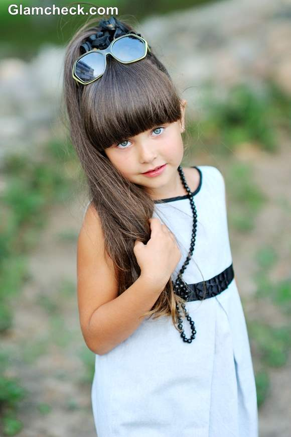 Little girls hairstyle Ponytail with Blunt Bangs