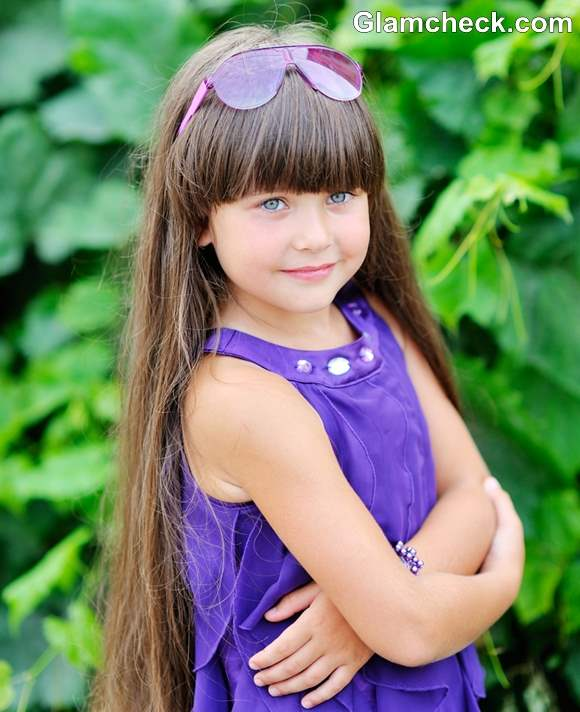 Little girls hairstyles for long hair blunt bangs