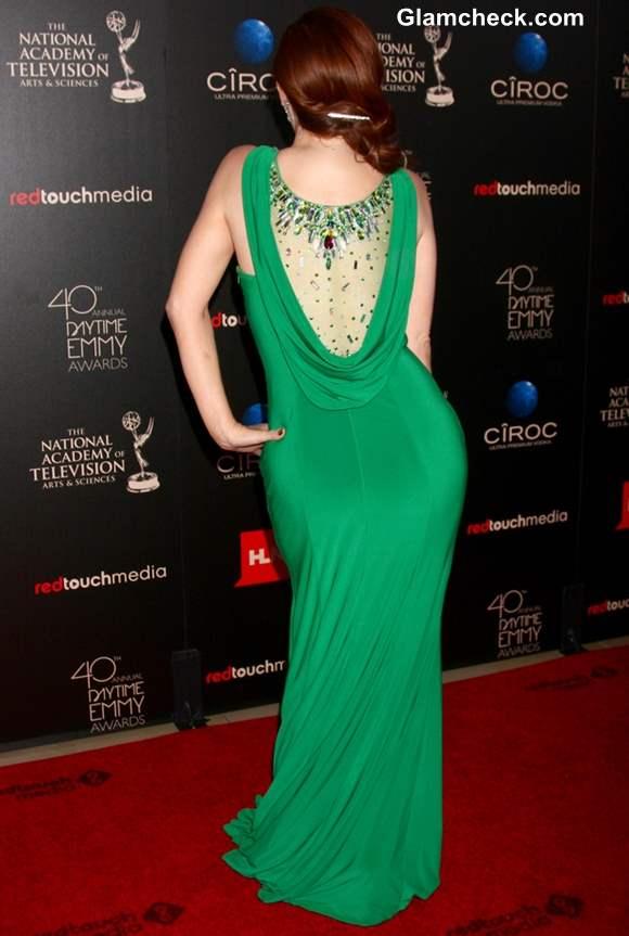 Melissa Archer Emerald Evening Gown at Emmys 2013