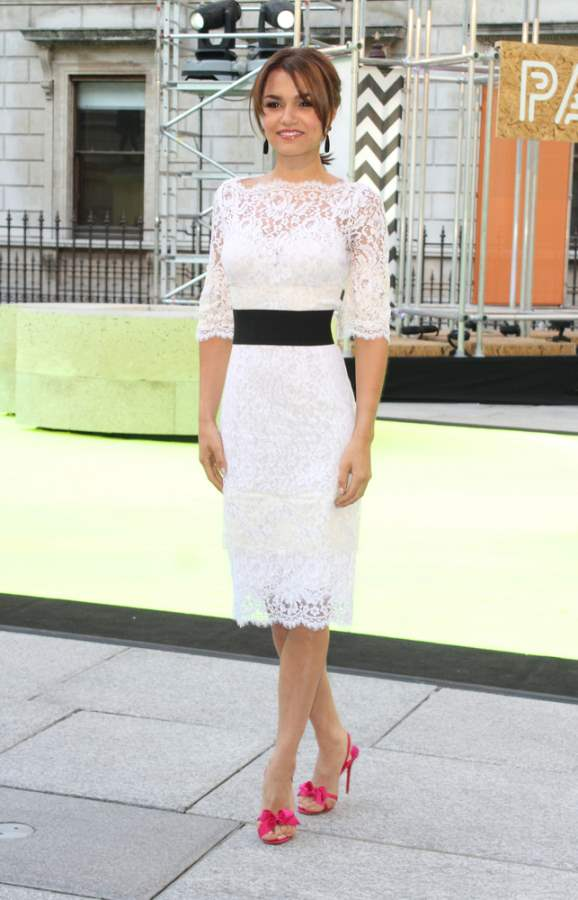 Samantha Barks in White Lace Dress