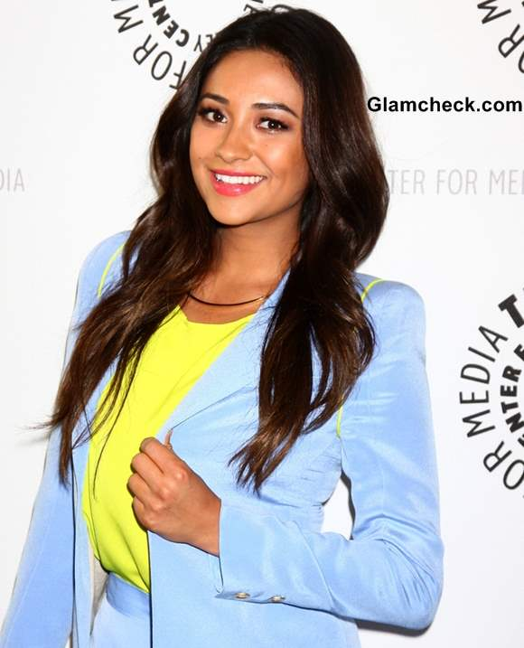 Shay Mitchell Classy in Blue Shorts at Paley Event