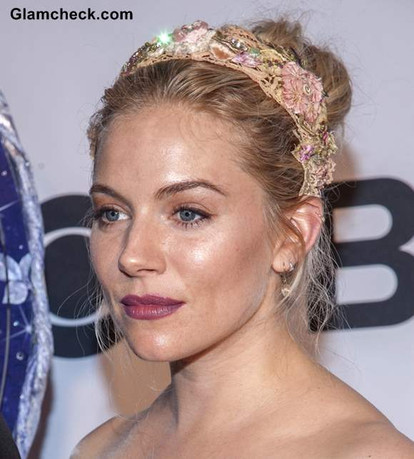 Sienna Miller Sports Bejewelled Floral Headband