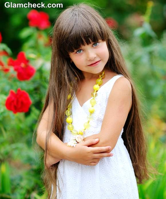 Hairstyles For Long Hair Little Girl : Styling blunt bangs with long hair  little girls hairstyle