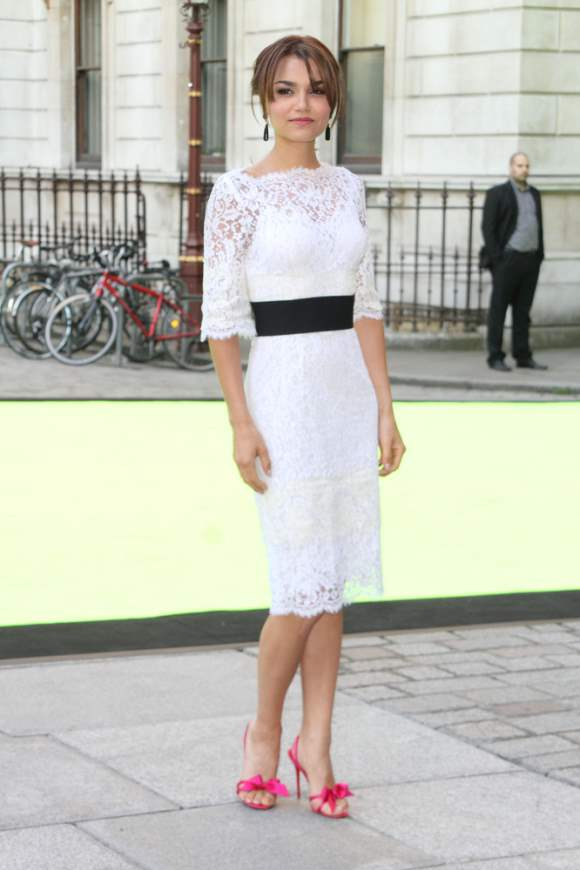 White Lace Dress Samantha Barks 2013