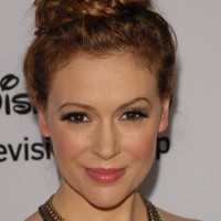 Alyssa Milano Sexy Braided Top Knot Hairstyle 2013