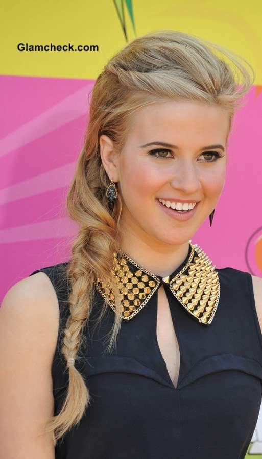 Caroline Sunshine Messy Side Braid Hairstyle
