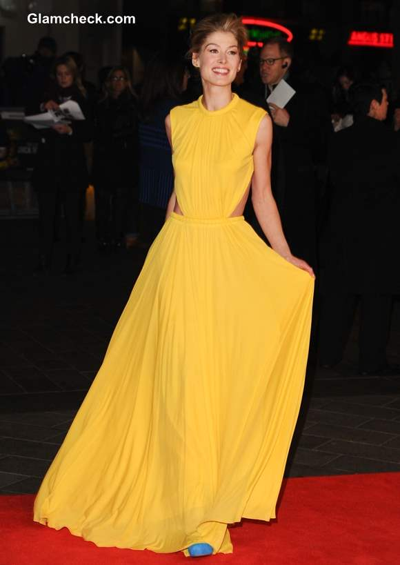 Celebrity Yellow Gowns Rosamund Pike