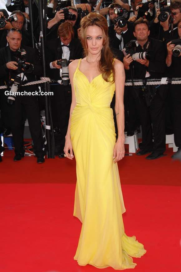 Celebrity Yellow Gowns on the Red Carpet Angelina Jolie