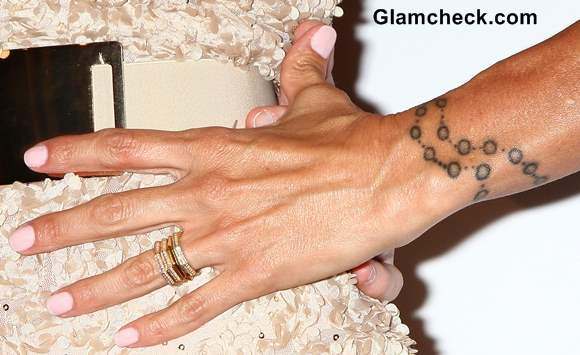 Charisma Carpenter Rosary Wrist Tattoo