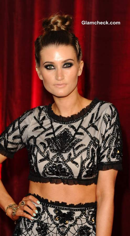 Charley Webb Flaunts Braided Top Bun