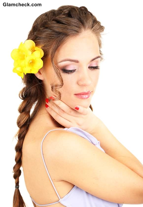 French braid with head band and flowers