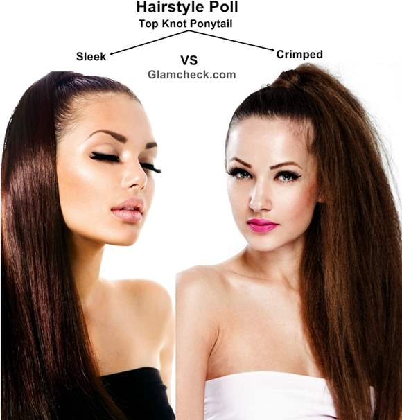 Hairstyle Poll Sleek vs Crimped Top-knot Ponytail