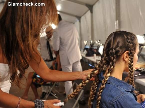 Hairstyle Trend S-S 2014 Multiple braids Agua Di Lara Swim Fashion Week