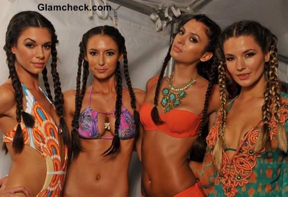 Hairstyle Trend S-S 2014 Multiple braids at Agua Di Lara Swim Fashion Week