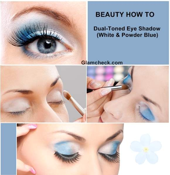 How To Apply Dual-Toned Eye Shadow-White Powder Blue