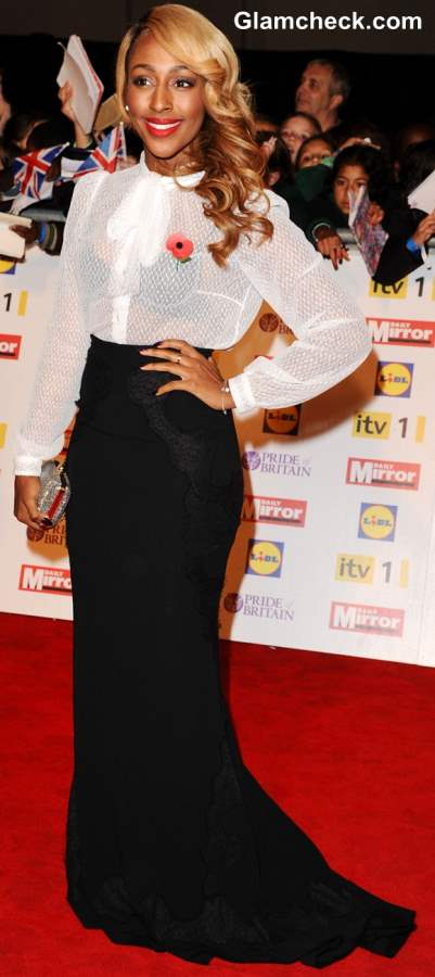 How to wear long black skirt Alexandra Burke 2013