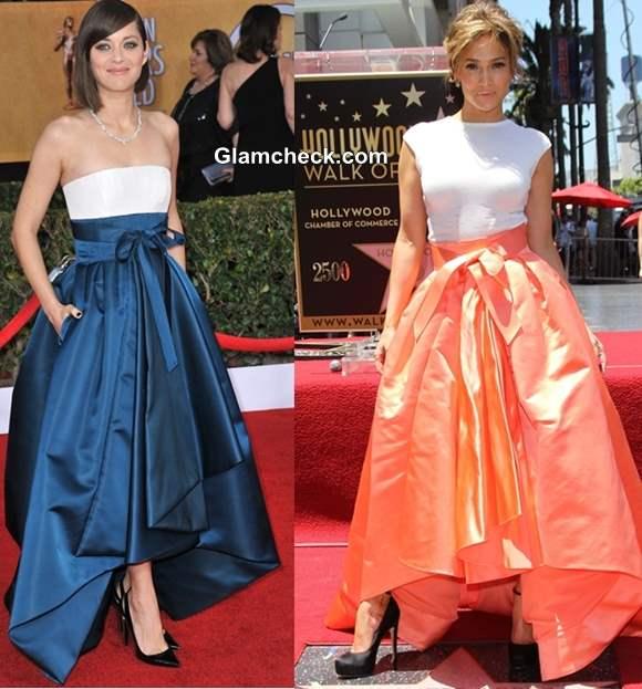 Jennifer Lopez and Marion Cotillard in Dior skirt 2013