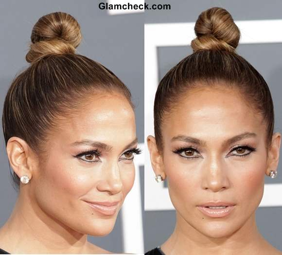 Jennifer Lopez knotted bun hairstyle 2013