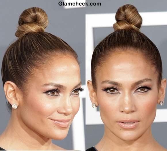 Jennifer Lopez knotted bun hairstyle 2013