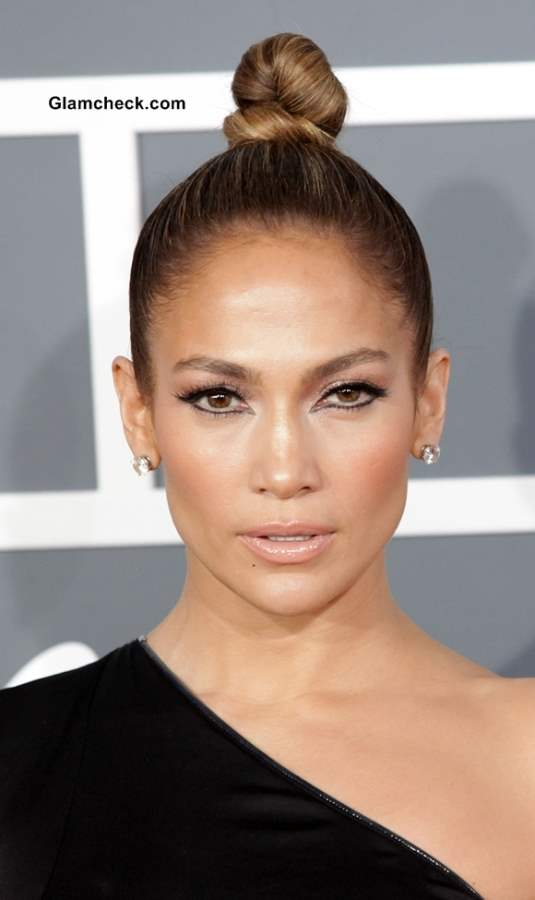 Jennifer Lopez top knot bun hairstyle 2013