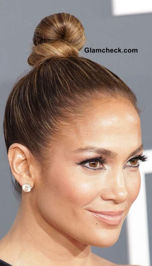 Jennifer Lopez top knotted bun hairstyle 2013