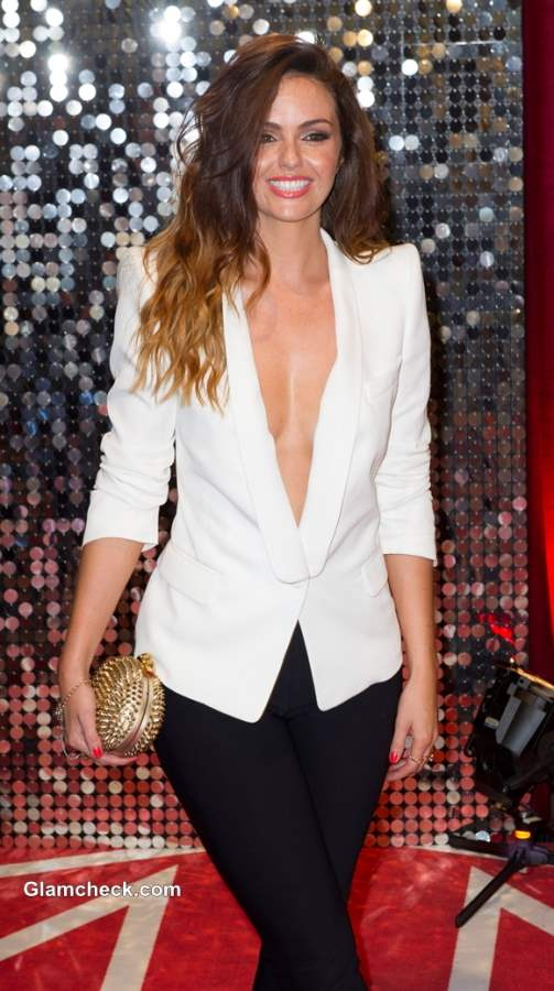 Jennifer Metcalfe 2013 Gaping White Blazer