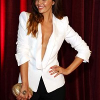 Jennifer Metcalfe in Plunging White Blazer
