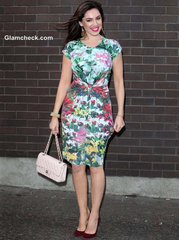 Kelly Brook in issa Floral Dress at Charity Event