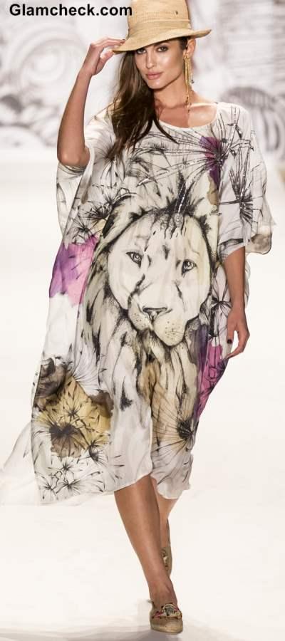 Lion Face Print Kaftan Agua Bendita for 2014 collection