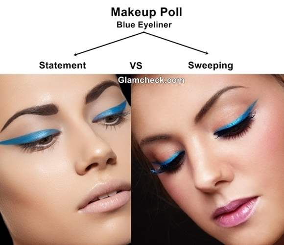 Makeup Poll  Statement Blue eyeliner vs Sweeping Blue eyeliner