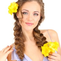 Pigtail braids with flowers
