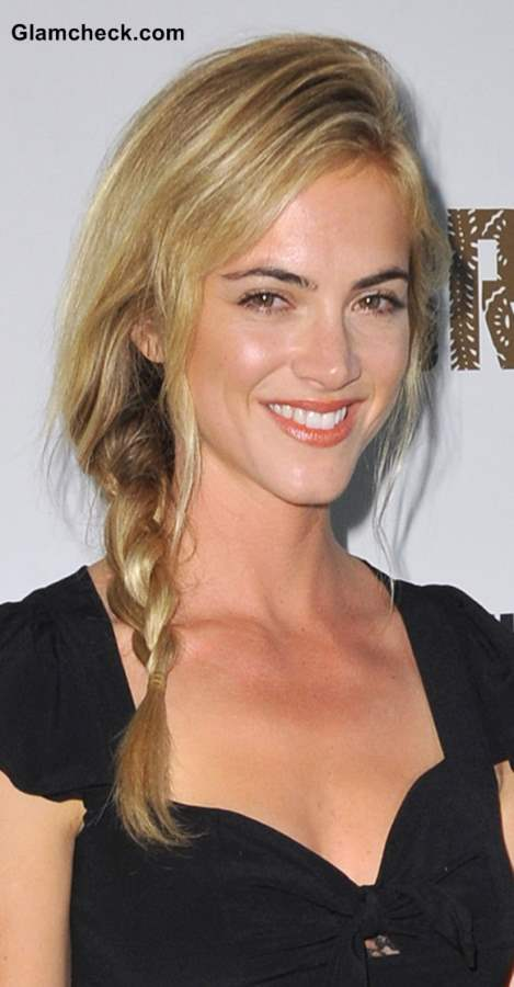 "Emily Wickersham Sports Side Braid at ""The Bridge"" Premiere"