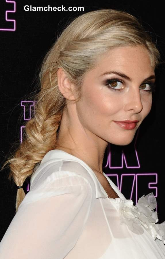 Tamsin Egerton Sports Messy Side Fishtail Plait