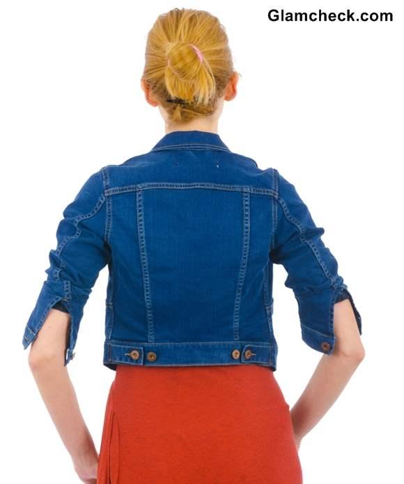 Wearing denim jacket with maxi dress