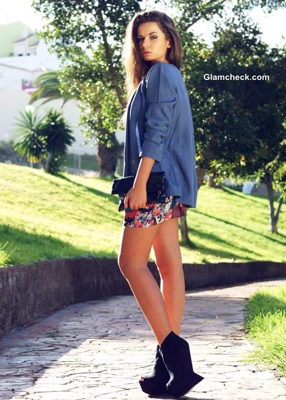 Wearing floral mini dress with blazer
