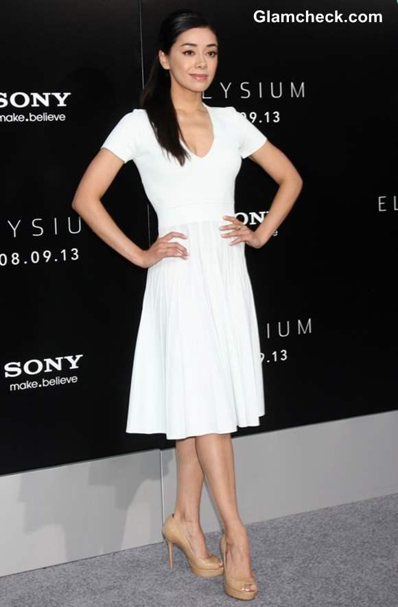 Aimee Garcia White Dress at Elysium Premiere
