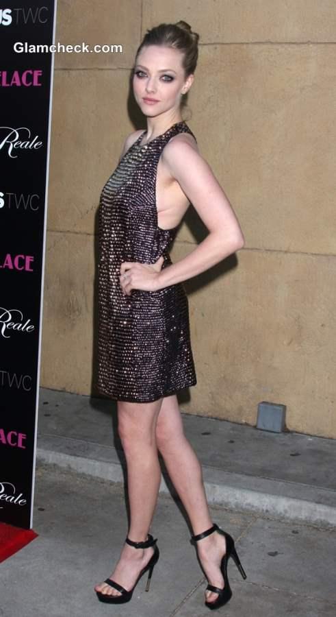 Amanda Seyfried in Beaded Halter Dress at Lovelace LA Premiere