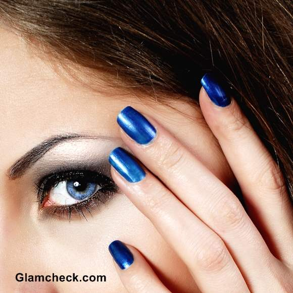 Shades Of Blue Nail Polish And Manicure