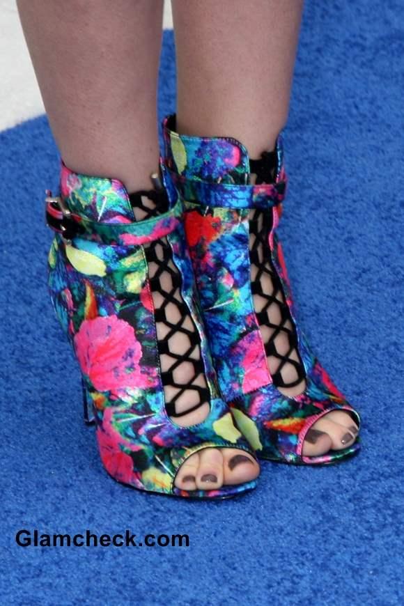Celeb Footwear  Jayma Mays in Linford Floral Booties